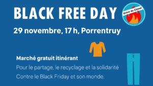 Contre le Black Friday et son monde : un marché gratuit et revendicatif à Porrentruy